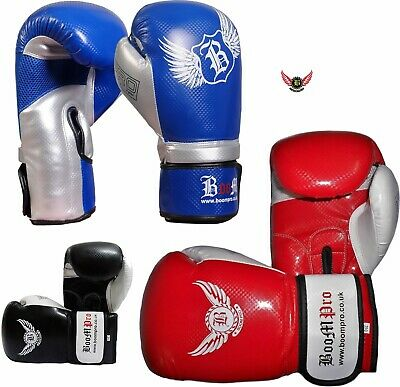 Boom Pro Boxing Gloves Punch Bag Rex Leather Heavy Kickboxing Glove MMA Training