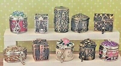 Miniature metal opening JEWELLERY BOX chest/ tea caddy 1:12th dolls house UK