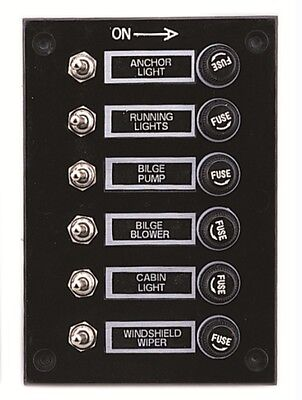 Marine 6 Gang Fuse Switch Panel 12V (BLACK) /Boat / Yacht/Caravan