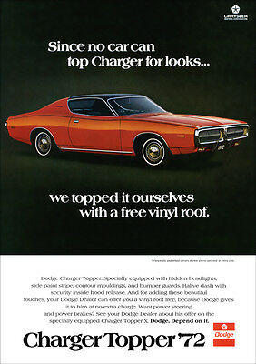 Dodge 72 Charger Mopar Muscle Retro A3 Poster Print From Advert 1972