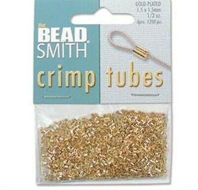 (1/2OZ) Approximately 800 Gold Plated 1.5x1.5mm Crimp Tubes Crimping Beads