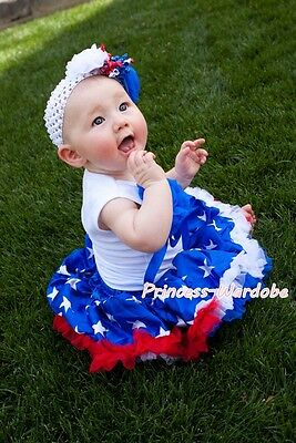 Newborn Baby Blue 4th July Patriotic Star Pettiskirt a Bunch Rose Top Set 3-12M