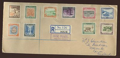NIUE 1950 REGISTERED FIRST DAY COVER...PICTORIALS COMPLETE SET of 10...L2