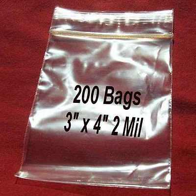 """200 3""""x 4"""" Clear Ziplock Plastic resealable Poly BAGS-2 Mil Jewelry-High Clarity"""