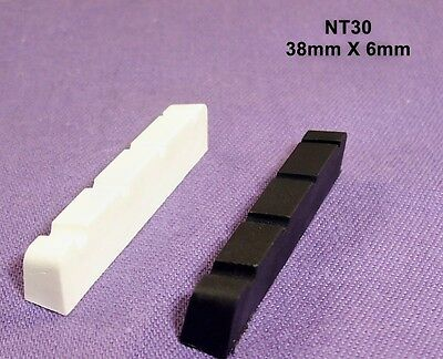 38mm X 6mm GRAPHITE COMPOUND BASS GUITAR NUT/ BLACK OR WHITE / NT30