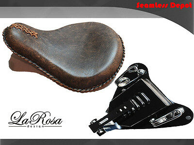2008-09 LaRosa Rustic Brown Leather Harley Sportster Conversion Solo Seat Kit
