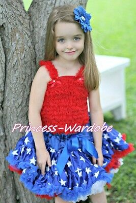 Royal Blue Patriotic 4th July Star Pettiskirt Red Ruffle Top 2PC Set Girl 1-8Y