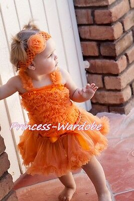 Newborn Baby Halloween Orange Pettiskirt with Orange Ruffles Top 2PC Set 3-12 M