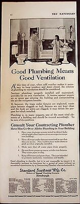 1918 original vintage Ad Standard Sanitary Mfg. Co. plumbing fixtures