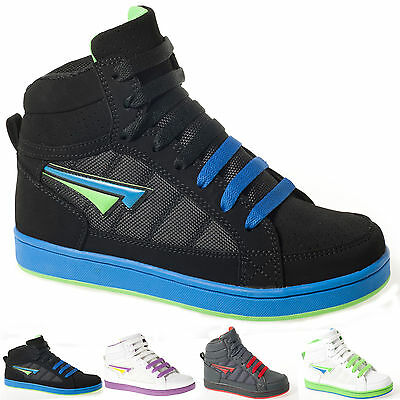 New Boys Kids Trainers  Hi High Top Skater School Shoes Boots 13-6 Uk Rrp £19.99