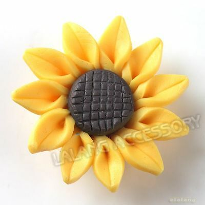 20pcs 111491 Wholesale Charms Yellow Sunflower Polymer Clay Beads 30mm