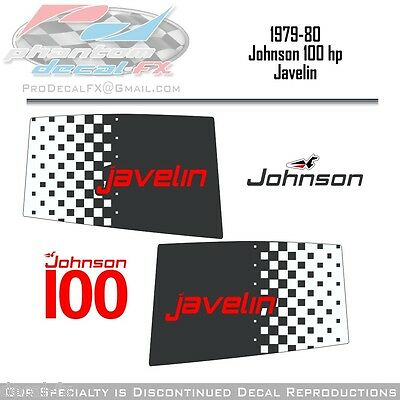 1979-80 Johnson 100 HP Javelin V4 Outboard Reproduction 6 Pc. Decal One Hundred