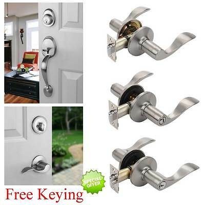 Heritage Satin Nickel Door Hardware Levers, Locks