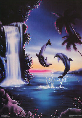 Poster : Animal : Dolphin Waterfall -  Free Shipping ! #3162   Rw17 N