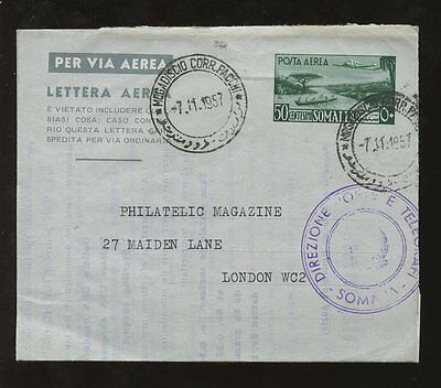 Somalia Stationery Air Letter 1957 Posts + Telegraphs Philatelic