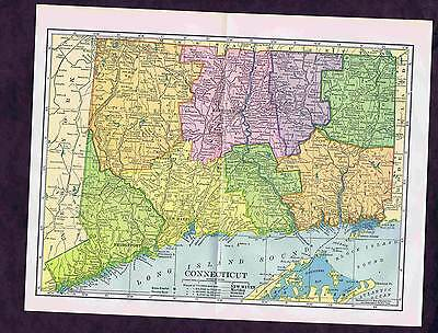 CT - Century-Old 1904 COLOR STATE MAP - CONNECTICUT