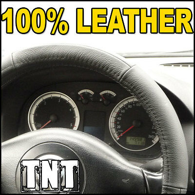 Black LEATHER Steering Wheel Cover - Diameter 37-38 cm - Universal - Glove Style