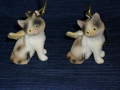 Lot of 2 ANGEL CATS ORNAMENTS kittens