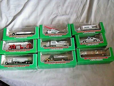 Lot Of 9 Hess Miniature Collectible Vehicles New In Boxes All 1998 - 2006