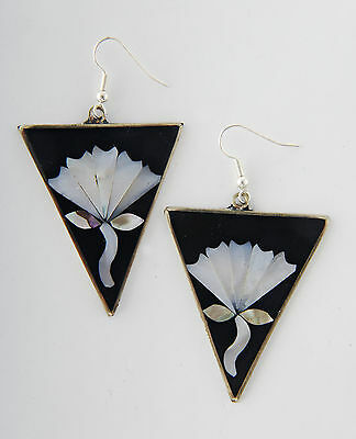 Tumi Mexican art deco style earrings black  fairtrade hand made in Mexico