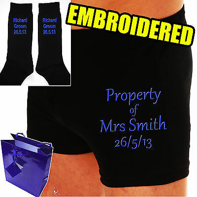 Personalised Groom Wedding Day Gift Boxer Shorts & Socks *the Property Of