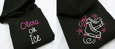 Girls Personalised Embroidered Ice Figure Skating Hoodie design on Front & Back