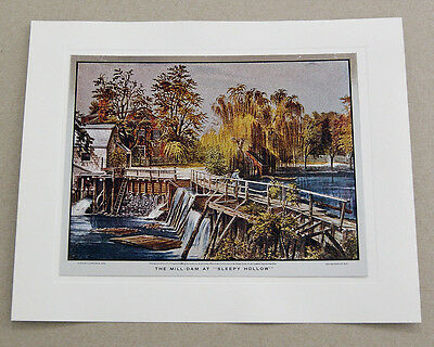 Vintage Currier and Ives The Mill Dam at Sleepy Hollow Color Foil Etch Print