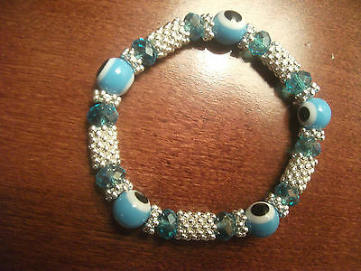 """Gorgeous Blue 7"""" fashion Lampwork Crystal Faceted Beaded Bracelet"""