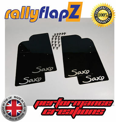 Rally Mudflaps CITROEN SAXO (1996-2003) Mud Flaps x 4 Black 4mm PVC Logo Silver