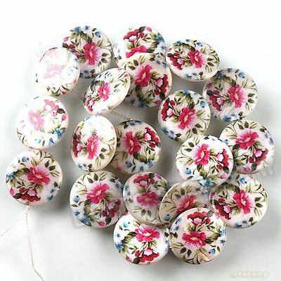 1string  111527 New Coin Red Camellia Flowers Disc Charms Shell Beads 20mm