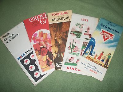 VINTAGE ROAD MAPS Retro Travel SINCLAIR MOBIL CONOCO Arkansas IOWA Chicago EXPO