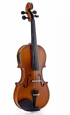 Brand New Fever Full Size Electric Acoustic Violin Outfit 4/4 w/Case, ROS1132C