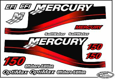 Mercury Outboard 150HP Decal Kit-Set Red, w/ Optimax & OffShore-avail 200,225,90
