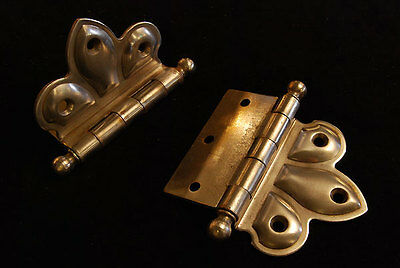 3 Sets Antique Vintage Offset Decorative Ball Tip Butterfly Steel  Hinges