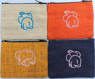 Embroidered Elephant Coin Purse Pattern from Thailand 12cm x 9cm Many Colours