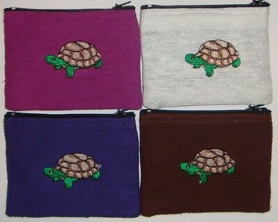 Embroidered Turtle Coin Purse Pattern from Thailand 12cm x 9cm Many Colours