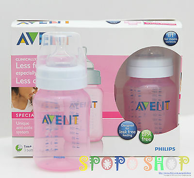 New PHILIPS AVENT Special Edition 3 Pack 260ml PINK Bottles BPA Free 0-6Months