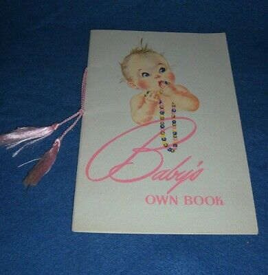 Vintage 1940's Paper Baby Record Book PINK Ribbon The Dean Studio Unused