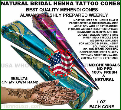100 Bridal Henna Tattoo Cones Freshly Made Baq Clove Eucalyptus Oil Dark Stains