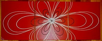 ORIGINAL ABSTRACT CANVAS PAINTING RED BLACK WHITE SCRIBBLE FLOWER-Dees Funky Art