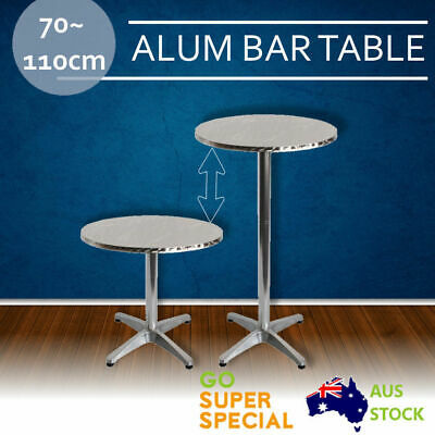 Aluminium Round Bar Table, Adjustable Height Round Cafe Bar Indoor Outdoor