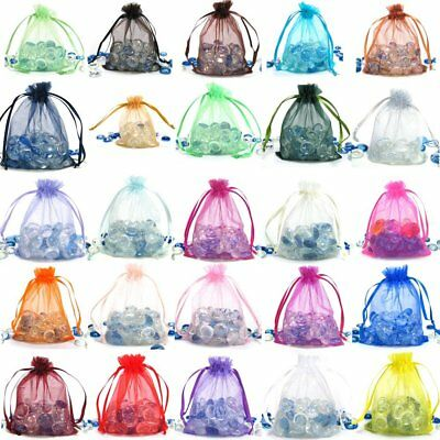 """200 Large MIXED Organza Wedding Jewelry Pouches Drawstring Gift Bags 6x9"""""""