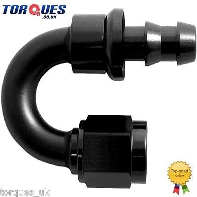 AN -10 (10AN JIC AN10) 180 Degree Push-On Socketless Fuel Hose Fitting In Black