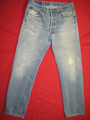 D4340 frayed holes levi's 501 blue jeans 35x34 used destructed made in the USA