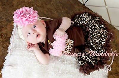 Baby Brown Gold Leopard Pettiskirt Brown Top Light Pink Leopard Cupcake Set3-12M