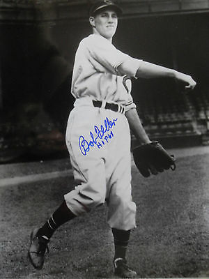 "LEGEND HOF BOB FELLER SIGNED INDIANS 8x10"" PHOTO 3 x NO HITTER TRIPLE CROWN HOF"