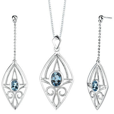 4.25 CT Oval Blue London Blue Topaz Sterling Silver Earring and Pendant Set