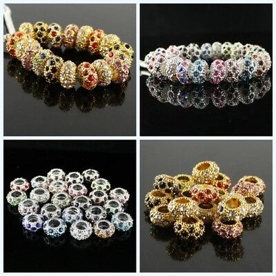 Rhinestone Crystal Silver Spacer Large Hole Charm Beads Fit European Bracelet