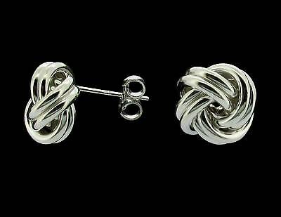 925 Solid Sterling Silver Knot Stud Earrings Small Medium Large