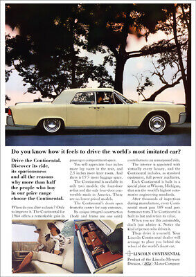 Lincoln Continental 64 Retro A3 Poster Print From Advert 1964